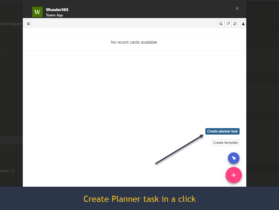 create planner task in a click
